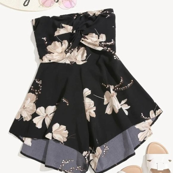•SHEIN• Floral Print Front Tie Back Bandeau Romper